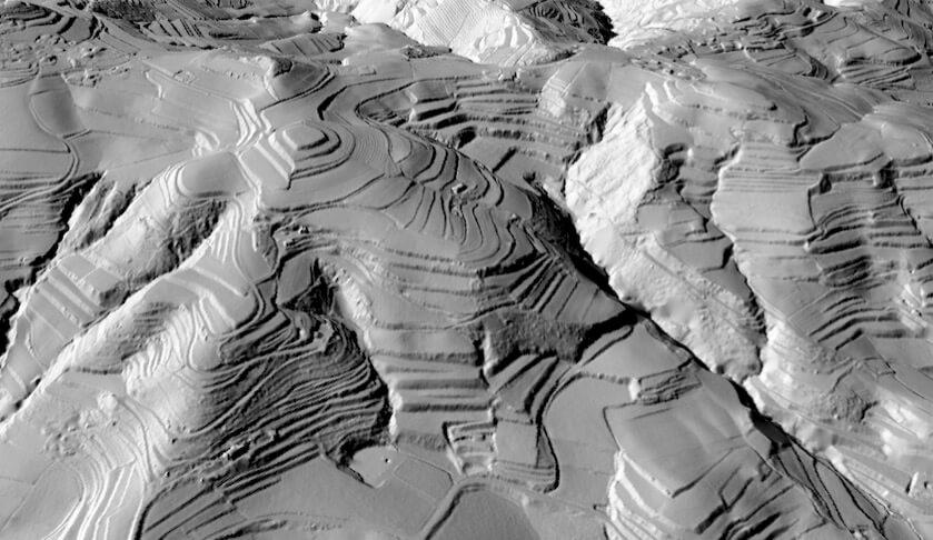 Modello tridimensionale dell'area terrazzata rilevata