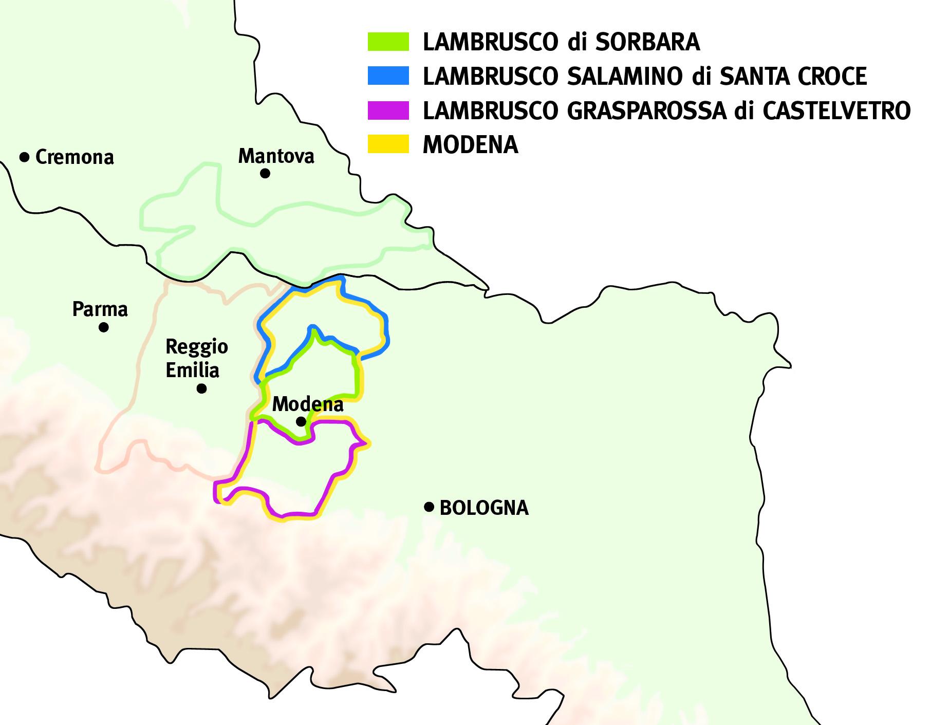 Lambrusco Modenese mappa