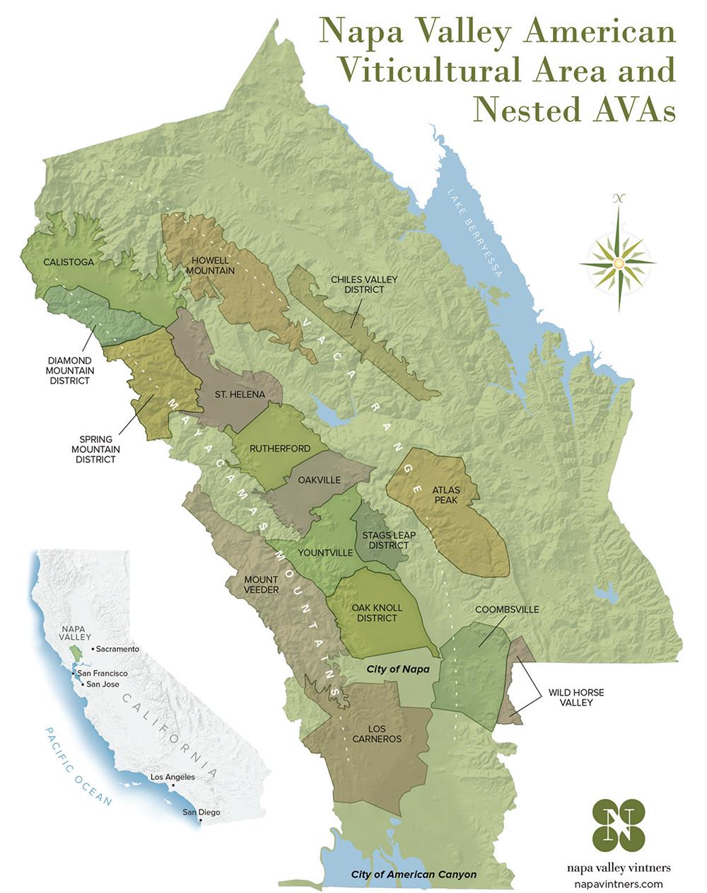 Denominazioni Napa Valley AVA mappa